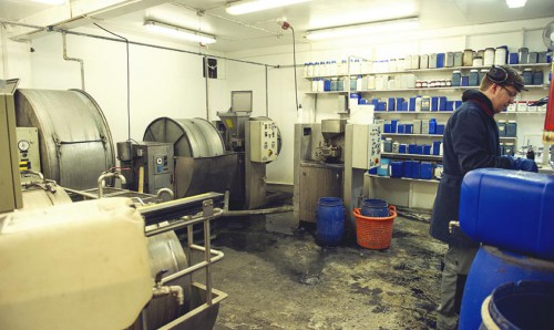 6 Visit to Atlantic Leather. Sustainable fish skin tannery in Iceland . Dying lab
